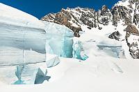 Huge seracs in upper parts of Tasman Glacier, Aoraki Mount Cook National Park, Mackenzie Country, UNESCO World Heritage Area, New Zealand, NZ