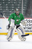 Notre Dame Fighting Irish of Batavia goalie Andrew Cheverie (2) during warmups before a varsity ice hockey game against the Brockport Blue Devils during the Section V Rivalry portion of the Frozen Frontier outdoor hockey event at Frontier Field on December 22, 2013 in Rochester, New York.  (Copyright Mike Janes Photography)