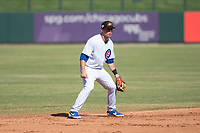 Mesa Solar Sox shortstop Nico Hoerner (17), of the Chicago Cubs organization, during an Arizona Fall League game against the Peoria Javelinas at Sloan Park on October 24, 2018 in Mesa, Arizona. Mesa defeated Peoria 4-3. (Zachary Lucy/Four Seam Images)
