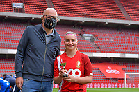 Davinia Vanmechelen (25) of Standard - player of the month - pictured before a female soccer game between Standard Femina de Liege and AA Gent Ladies on the 6th matchday in play off 1 of the 2020 - 2021 season of Belgian Scooore Womens Super League , tuesday 11 th of May 2021  in Liege , Belgium . PHOTO SPORTPIX.BE   SPP   STIJN AUDOOREN