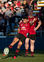 Richie Mo'unga kicks for touch during the 2020 Super Rugby match between the Crusaders and Highlanders at Orangetheory Stadium in Christchurch, New Zealand on Saturday, 9 August 2020. Photo: Joe Johnson / lintottphoto.co.nz