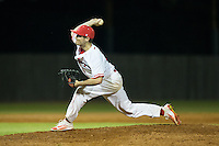 Belmont Abbey Crusaders relief pitcher Parker MacPhail (24) in action against the Catawba Indians at Abbey Yard on February 7, 2017 in Belmont, North Carolina.  The Crusaders defeated the Indians 12-9.  (Brian Westerholt/Four Seam Images)