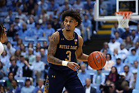 CHAPEL HILL, NC - NOVEMBER 06: Prentiss Hubb #3 of the University of Notre Dame brings the ball up the court during a game between Notre Dame and North Carolina at Dean E. Smith Center on November 06, 2019 in Chapel Hill, North Carolina.