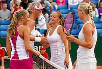 22-08-10, Tennis, Amstelveen, NTK, Nationale Tennis Kampioenschappen, v.l.n.r.:  Scheepens  Schultz  Thyssen en Bertens, de laatst winnen de NK dames dubbel.