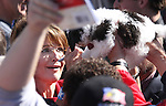 Sarah Palin reacts to a request to autograph a dog in the crowd following the Tea Party Express kick off Monday morning, Oct. 18, 2010, in Reno, Nev. .Photo by Cathleen Allison