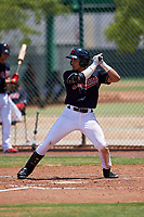 AZL Indians Blue Julian Escobedo (4) at bat during an Arizona League game against the AZL Indians Red on July 7, 2019 at the Cleveland Indians Spring Training Complex in Goodyear, Arizona. The AZL Indians Blue defeated the AZL Indians Red 5-4. (Zachary Lucy/Four Seam Images)