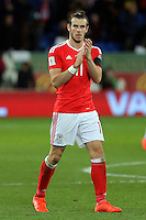 Gareth Bale of Wales thanks home supporters after the 2018 FIFA World Cup Qualifier between Wales and Serbia at the Cardiff City Stadium, Wales, UK. Saturday 12 November 2016