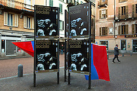 """Switzerland. Canton Ticino. Bellinzona. Political meeting of the Green Party """" I Verdi del Ticino"""" on Piazza del Governo. Ticino flags and posters for the show at Teatro Sociale. The Green Party of Switzerland also called :German: Grüne Partei der Schweiz; French: Les verts – Parti écologiste suisse; Italian: I Verdi – Partito ecologista svizzero; Romansh: La Verda – Partida ecologica svizra; """"The Greens – Swiss ecological party"""". 28.03.2015 © 2015 Didier Ruef"""