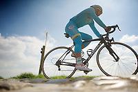 over the cobbles at Carrefour de l'Arbre<br /> <br /> 2014 Paris - Roubaix reconnaissance