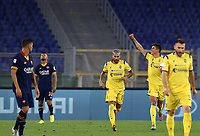 Football, Serie A: AS Roma - Hellas Verona Fc, Olympic stadium, Rome, July 15, 2020. <br /> Verona's Matteo Pessina (second from right) celebrates after scoring during the Italian Serie A football match between Roma and Hellas Verona at Rome's Olympic stadium, on July 15, 2020. <br /> UPDATE IMAGES PRESS/Isabella Bonotto