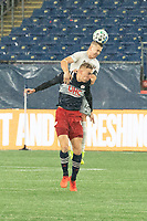 FOXBOROUGH, MA - NOVEMBER 1: Russell Canouse #4 of DC United heads a high ball during a game between D.C. United and New England Revolution at Gillette Stadium on November 1, 2020 in Foxborough, Massachusetts.