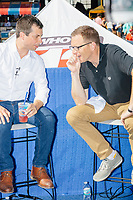 South Bend mayor and Democratic presidential candidate Pete Buttigieg sits for an interview with Dave Price of WHO-HD 13 at the Iowa State Fair in Des Moines, Iowa, on Tues., Aug. 13, 2019.