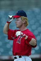 Adam Riggs of the Anaheim Angels during a 2003 season MLB game at Angel Stadium in Anaheim, California. (Larry Goren/Four Seam Images)