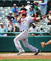 Harrisburg Senators infielder Justin Bloxon (9) during game against the Trenton Thunder at ARM & HAMMER Park on July 31, 2013 in Trenton, NJ.  Harrisburg defeated Trenton 5-3.  (Tomasso DeRosa/Four Seam Images)