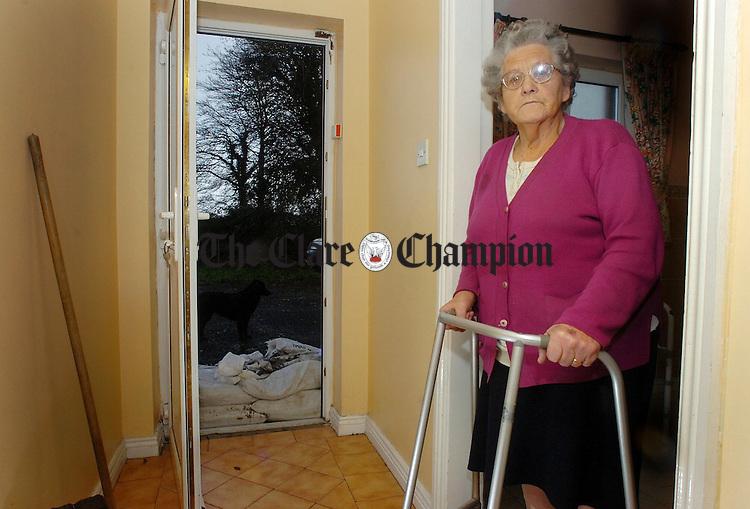 77 year old Nora Mason looking at the sandbags at the door of her home in Springfield Clonlara.Pic Arthur Ellis.