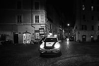 """Rome, 23/10/2020. Documenting the """"curfew"""" (coprifuoco) imposed from Friday night in Rome and its surrounding Lazio Region. The local authorities tightened rules and restrictions due to a spike in the Covid-19 / Coronavirus cases. 23 October bulletins sees 19.143 new cases, 91 people died, 182.032 tests made. Today, the President of Lazio Region, Nicola Zingaretti (Leader of the Democratic Party, PD, party member of the Italian Coalition Government), imposed the night curfew, from midnight to 5AM, for 30 days (1.). A new self-certification (autocertificazione, downloadable from here 1.) is needed to leave home which is allowed only for urgent reasons, mainly work and health. Furthermore, the Mayor of Rome, Virginia Raggi, implemented """"no-go zones"""" restrictions from 9PM in some of the areas and squares of the Eternal City famous for the nightlife, including Campo de' Fiori, Via del Pigneto, Piazza Trilussa in Trastevere district and Piazza Madonna de' Monti.<br /> <br /> Footnotes & Links:<br /> 1. http://www.regione.lazio.it/binary/rl_main/tbl_news/ordinanza_regione_lazio_intesa_Ministro_salute__mod_accettate_rev1__ore_24_1_signed.pdf<br /> <br /> March 2020, Coronavirus lockdown in Rome:<br /> - 12.03.2020 - Rome's Lockdown for the Outbreak of the Coronavirus In Italy - SARS-CoV-2 - COVID-19: https://lucaneve.photoshelter.com/gallery/12-03-2020-Romes-Lockdown-for-the-Outbreak-of-the-Coronavirus-In-Italy-SARS-CoV-2-COVID-19/G0000jGtenBegsts/<br /> - 07-23.03.2020 - Villaggio Olimpico Ai Tempi del COVID-19 - Rome's Olympic Village Under Lockdown: https://lucaneve.photoshelter.com/gallery/07-23-03-2020-Villaggio-Olimpico-Ai-Tempi-del-COVID-19-Romes-Olympic-Village-Under-Lockdown/G0000D2L9l0ibXZI/"""