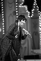 """Liza Minnelli performs at the """"Circus of the Stars,"""" (CBS Special), Santa Monica Civic Auditorium, November, 1976. Photo by John G. Zimmerman"""