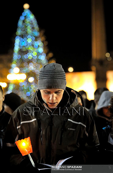 Boys,members of the ecumenical christian community of Taize pray with Pope Benedict XVI the prayer with the ecumenical christian community of Taize in St.Peter's square at the Vatican. December 29, 2012..