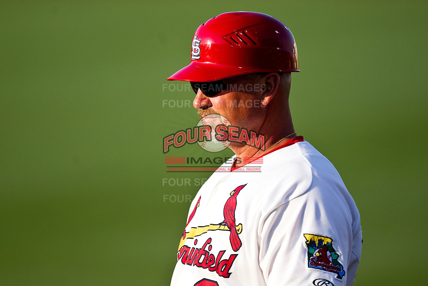 Hitting Coach Phillip Wellman (30) of the Springfield Cardinals stands off first base during a game against the Arkansas Travelers at Hammons Field on May 5, 2012 in Springfield, Missouri. (David Welker/Four Seam Images)