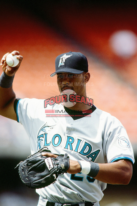 Derrek Lee of the Florida Marlins during a game against the Los Angeles Dodgers at Dodger Stadium circa 1999 in Los Angeles, California. (Larry Goren/Four Seam Images)