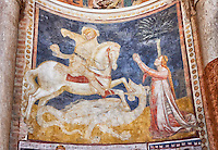 Frescoes depicting St George  on the interior of the Romanesque Baptistery of Parma, circa 1196, (Battistero di Parma), Italy