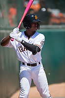 San Jose Giants second baseman Jalen Miller (2) on deck during a California League game against the Lancaster JetHawks at San Jose Municipal Stadium on May 13, 2018 in San Jose, California. San Jose defeated Lancaster 3-0. (Zachary Lucy/Four Seam Images)