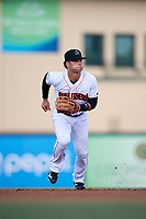 Jupiter Hammerheads shortstop Bryson Brigman (1) during a game against the Palm Beach Cardinals on August 4, 2018 at Roger Dean Chevrolet Stadium in Jupiter, Florida.  Palm Beach defeated Jupiter 7-6.  (Mike Janes/Four Seam Images)