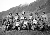 Missouri infantrymen with the 19th Inf. Regt. along the Kumsong front wish Happy New Year to the stateside folks.  December 14, 1951.  Cpl. Mervyn Lew.  (Army)<br /> NARA FILE #:  111-SC-387519<br /> WAR & CONFLICT BOOK #:  1399