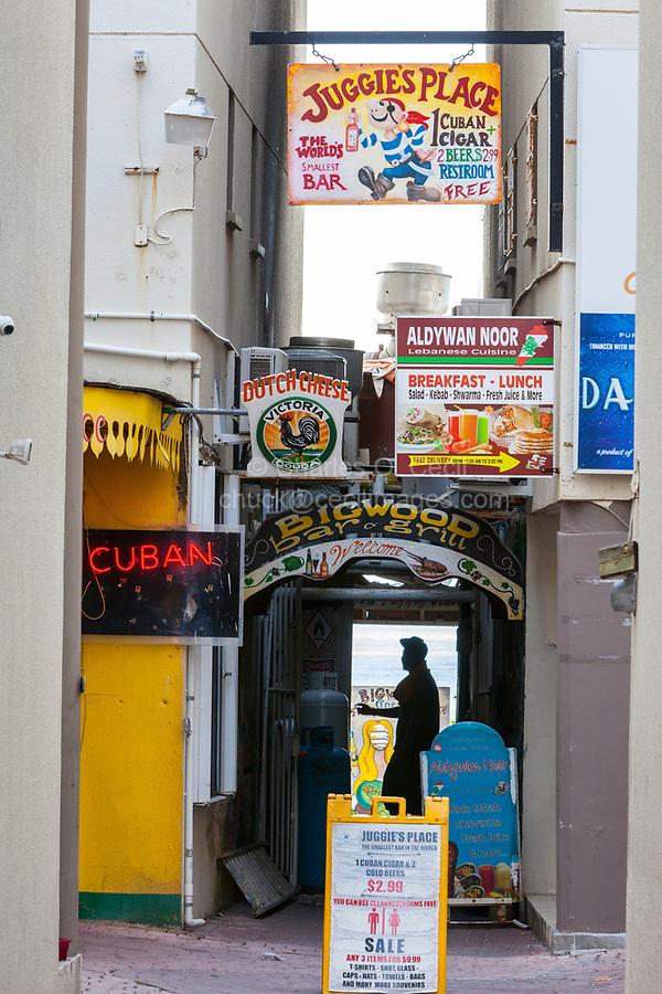 Philipsburg, Sint Maarten.  Street Scene between Front Street and Boardwalk.