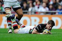 Sam Smith of Harlequins touches down during the Aviva Premiership match between Saracens and Harlequins at Wembley Stadium on Saturday 31st March 2012 (Photo by Rob Munro)