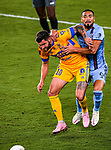 Forward Andre-Pierre Gignac of Tigres UANL (MEX) fight for the ball against Alexander Callens of New York City FC (USA) during their Scotiabank Concacaf Champions League Quarter Finals match at the Orlando's Exploria Stadium on 15 December 2020, in Florida. Photo by Victor Fraile / Power Sport Images