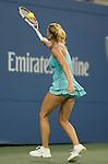 Camila Georgi (ITA) battles against Caroline Wozniacki (DEN) at the US Open being played at USTA Billie Jean King National Tennis Center in Flushing, NY on August 31, 2013
