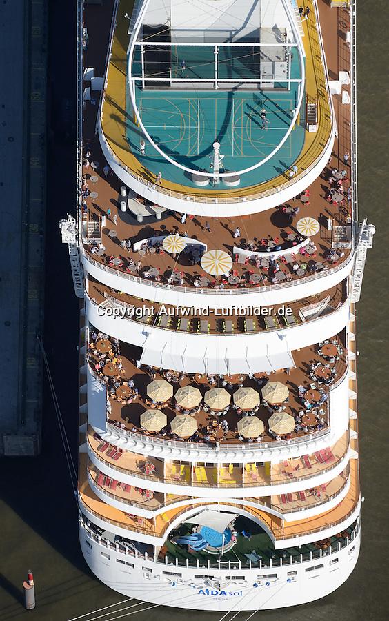 Kreuzfahrtschiff Aida Sol Heckansicht: EUROPA, DEUTSCHLAND, HAMBURG, (EUROPE, GERMANY), 15.09.2016: Kreuzfahrtschiff Aida Sol Heckansicht