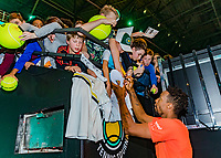Rotterdam, The Netherlands, 17 Februari 2019, ABNAMRO World Tennis Tournament, Ahoy,  Winner Gael Monfils (FRA) signing autographs<br /> Photo: www.tennisimages.com/Henk Koster