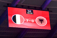 led boarding showing the 7-0 score during a female soccer game between the national teams of Belgium , called the Red Flames and Albania in the second game in the qualification for the  FIFA Women's World Cup in group F , on tuesday 21 st of September 2021  in Brussels , Belgium . PHOTO SPORTPIX
