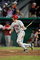 Auburn Doubledays designated hitter Nic Perkins (43) follows through on a swing during a game against the Batavia Muckdogs on June 28, 2018 at Dwyer Stadium in Batavia, New York.  Auburn defeated Batavia 14-9.  (Mike Janes/Four Seam Images)