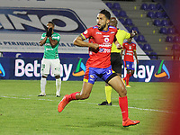 PASTO-COLOMBIA, 10-10-2020: Jeison Medina de Deportivo Pasto celebra un gol durante partido de la fecha 13 entre Deportivo Pasto y Deportivo Cali por la Liga BetPlay DIMAYOR 2020 jugado en el estadio Departamental Libertad de la ciudad de Pasto. / Jeison Medina of Deportivo Pasto celebrates after scoring a goal during a match of the 13th date between Deportivo Pasto and Deportivo Cali for the BetPlay DIMAYOR League 2020 played at the Departamental Libertad Stadium in Pasto city. / Photo: VizzorImage / Leonardo Castro / Cont.