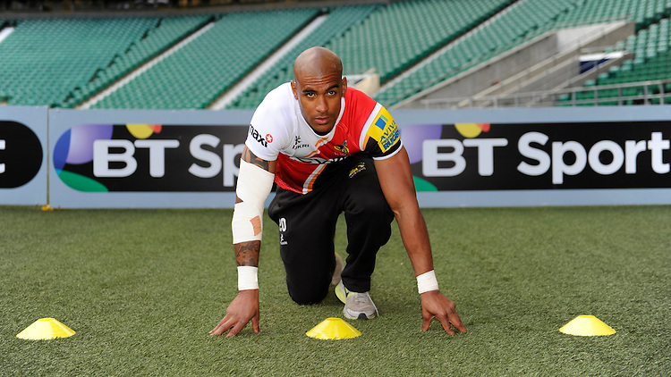 Tom Varndell of London Wasps demonstrates sprint techniques during the Aviva Premiership Rugby London Wasps Sprint Clinic at Twickenham Stadium on Monday 14th April 2014 (Photo by Rob Munro)