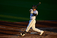 Bradenton Marauders Abrahan Gutierrez (27) hits a home run during Game Two of the Low-A Southeast Championship Series against the Tampa Tarpons on September 22, 2021 at LECOM Park in Bradenton, Florida.  (Mike Janes/Four Seam Images)