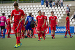 GER - Mannheim, Germany, April 28: During the men field hockey 1. Bundesliga match between Mannheimer HC (red) and Duesseldorfer HC (white) on April 28, 2018 at Am Neckarkanal in Mannheim, Germany. Final score 5-3. (Photo by Dirk Markgraf / www.265-images.com) *** Local caption ***