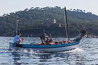 Europe/Provence-Alpes-Côte d'Azur/83/Var/Iles d'Hyères/Ile de Porquerolles: Retour de pêche aprés la Pose des filets, sur le pointu de Gérard Genta, pêcheur et restaurateur: Restaurant du Pêcheur - Hôtel Le Porquerollais  <br /> Auto N°:2012-418 En fond le fort de l'Alycastre et la Pointe  de l'Alycastre