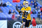 Face-Off Classic: Attackmen Derek Bertolini #47 of the UMBC Retrievers  during the UMBC v Johns Hopkins mens lacrosse game at M&T Bank Stadium on March 10, 2012 in Baltimore, Maryland. (Ryan Lasek/ Eclipse Sportswire)