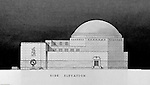 Pittsburgh PA:  View of a rendering created by J.A. Mitchell of the new Buhl Planetarium.  This view is of the right side of the building, side elevation  The project was completed in 1939.  The Buhl Planetarium was built with monies from the Buhl Foundation; a foundation created by the wealthy North Side clothier Henry Buhl of Boggs and Buhl department store fame.  Brady Stewart was selected for the job due to his specialized equipment; an 8x10 Dierdorff camera, and his expertise in lighting and photographing large renderings and drawings.