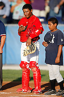 July 27, 2009:  Catcher Luis De La Cruz of the Batavia Muckdogs during a game at Dwyer Stadium in Batavia, NY.  The Muckdogs are the NY-Penn League Short-Season Class-A affiliate of the St. Louis Cardinals.  Photo By Mike Janes/Four Seam Images