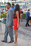 Trainer Bisnath Parboo watching Trinniberg come back after winning the Swale Stakes(G3) at Gulfstream Park, Hallandale Beach Florida. 03-10-2012