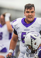 8 October 2016: Amherst College Purple & White Offensive Lineman Austin Park, a Senior from Pittsburgh, PA, walks the sidelines during a game against the Middlebury College Panthers at Alumni Stadium in Middlebury, Vermont. The Panthers edged out the Purple & While 27-26. Mandatory Credit: Ed Wolfstein Photo *** RAW (NEF) Image File Available ***