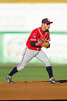 Danville Braves shortstop Omar Obregon (2) on defense against the Burlington Royals at Burlington Athletic Park on July 5, 2014 in Burlington, North Carolina.  The Royals defeated the Braves 5-4.  (Brian Westerholt/Four Seam Images)