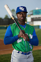 D.J. Burt (2) of the Lexington Legends poses for a photo prior to the game against the Hickory Crawdads at L.P. Frans Stadium on April 29, 2016 in Hickory, North Carolina.  The Crawdads defeated the Legends 6-2.  (Brian Westerholt/Four Seam Images)
