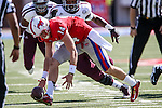 Southern Methodist Mustangs quarterback Garrett Krstich (14) in action during the game between the Texas A&M Aggies and the SMU Mustangs at the Gerald J. Ford Stadium in Fort Worth, Texas. A&M leads SMU 38 to 3 at halftime.