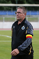 Delegate Francky Dryepondt of Club Brugge leaving the pitch after the warm up at a female soccer game between FC Femina White Star Woluwe and Club Brugge YLA on the second matchday in the 2021 - 2022 season of Belgian Scooore Womens Super League , Friday 27 th of August 2021  in Woluwe , Belgium . PHOTO SPORTPIX | SEVIL OKTEM